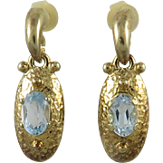 Blue Topaz 18K Vermeil Door Knocker Earrings