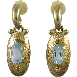 Blue Topaz 18K Vermeil Door Knocker Earrings