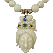 Chinese Carved Angel Skin Coral Kwan Yin 14K Necklace and Earring Set Emerald Ruby Sapphire
