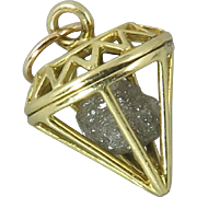 1.5ctw Raw Diamond in a 9K Cage Pendant