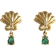 1/3ctw Emerald and Diamond 14K Shell Dangle Earrings