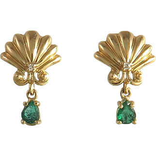 1/3ctw Emerald and Diamond 14K Shell Dangle Earrings