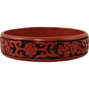 Black and Red Chinese Asian Cinnabar Bangle Bracelet