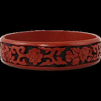 Black and Red Chinese Cinnabar Bangle Bracelet