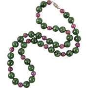 """14K Zoisite and Ruby Necklace 23"""""""