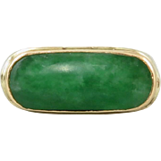 Chinese Art Deco 18K Imperial Green Jade Saddle Ring