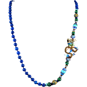 """Chinese Enamel on Silver Dragon and Lapis Necklace 31"""""""