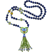 Chinese Enamel Peridot and Lapis Asian Tassel and 18K Vermeil Necklace 31""