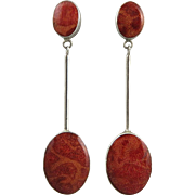 Red Sponge Coral and Sterling Silver Long Dangle Earrings
