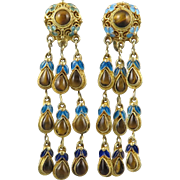 Chinese Gilded Silver and Enamel Cascading Tiger Eye Agate Earrings