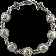Egyptian Revival Sterling Silver Scarab Link Bracelet