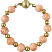14K Big Salmon Pink Coral and Gold Bead Asian Bracelet Mid Century