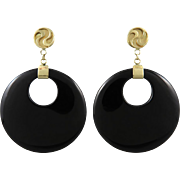 14K Black Onyx Big Dangle Earrings