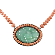 Chinese Asian Carved Jade and Pink Salmon Coral Necklace 19""