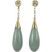 14K Green Jade Teardrop and Chinese Asian Character Earrings