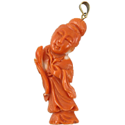 Antique Chinese Asian Momo Coral Kwan Yin Pendant 14K Bail