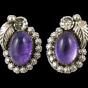 Amethyst and Sterling SIlver Handmade Southwestern Style Earrings