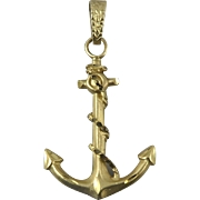 14K Yellow Gold Large Anchor Pendant