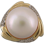 14K Mabe Pearl 13mm and Diamond Ring