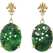 14K Chinese Carved Jadeite Jade Asian Art Deco Style Earrings Gorgeous Natural Green