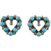 Petit Point Turquoise and Sterling Silver Heart Shaped Earrings
