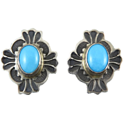 Sleeping Beauty Turquoise and Sterling Earrings Signed