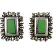 Gaspeite and Sterling Silver Vintage Earrings