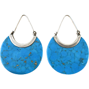 Turquoise Slice Sterling Silver Earrings