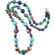 """Southwestern Inlay Bead and Colorful Gemstone Necklace 26"""""""