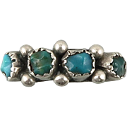 Old Pawn Petit Point Turquoise and Sterling Silver Handmade Ring