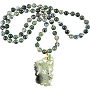 """Art Deco 18K Chinese Carved Moss Agate Pendant Necklace 31"""""""