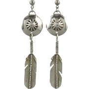 Sterling Long Feather Dangle and Concho Earrings