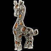 Judith Jack Marcasite Enamel Giraffe Sterling Silver Brooch