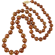 14K Natural Red Jadeite Jade Graduated Bead Necklace 22""