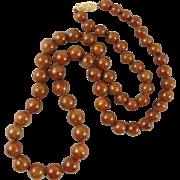"14K Natural Red Jadeite Jade Graduated Bead Necklace 22"""