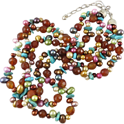 """Sterling 3 Strand Bejeweled Necklace 22"""" Cultured Pearls 