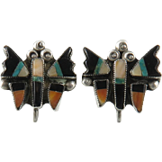 Navajo Gemstone Inlay Butterfly Sterling SIlver Screw Back Earrings