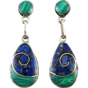 Malachite and Lapis Sterling Silver Dangle Earrings