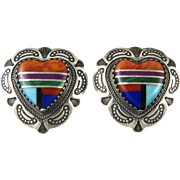 Sterling Heart Shaped Gemstone Inlay Earrings