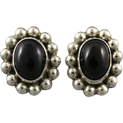 Vintage Taxco Sterling and Black Onyx Large Clip Style Earrings