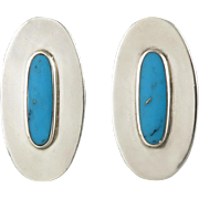 Sleek Turquoise and Sterling Long Oval Silver Earrings