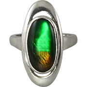 Gorgeous Ammolite and Sterling Silver Ring