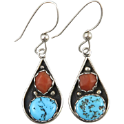 Turquoise and Coral Sterling Silver Southwestern Dangle Earrings