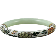 Chinese Cloisonne Enamel and Celadon Jade Bangle Bracelet
