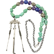 """Antique Chinese Opium Silver Chatelaine with Turquoise and Amethyst Necklace 27"""""""