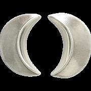 Serene Half Moon Sterling Silver Earrings