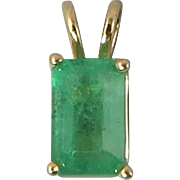 Stunning 1/2ct Emerald 14K Yellow Gold Pendant