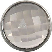 Large Checkerboard Cut Translucent Rose Quartz and Sterling Silver Ring