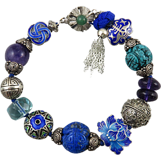 Chinese Carved Gemstone | Jade Clasp and Enameled Sterling Silver Charm Bracelet