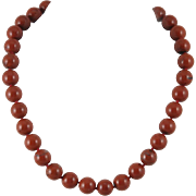 Beautiful Red Brecciated Jasper Bead Necklace Sterling Silver Clasp